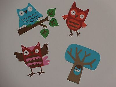 """16 Pcs Owls Printed Die Cuts Embellishments Punches 4""""H"""