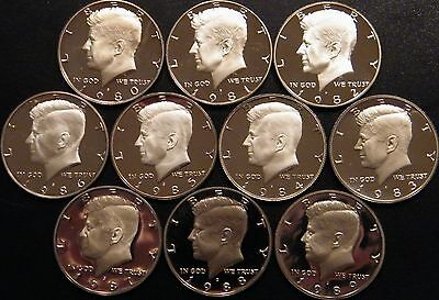 1980~ 1989 PROOF Kennedy Half Dollar Coin Collection 10 Coins from US Proof Sets