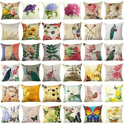 18'' Flower Throw Pillow Cover Floral Pillow Case Sofa Couch Cushion Cover Decor