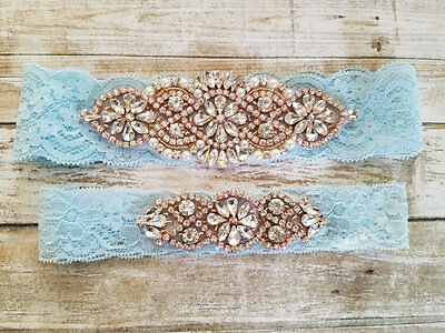 Wedding Garter,Rose Gold Rhinestone Garter Set, Light Blue Lace Keep&Toss Garter