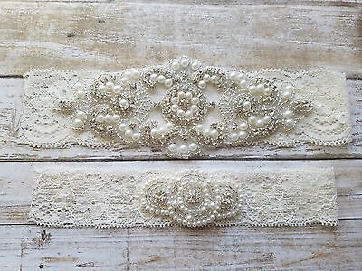 Wedding Garter,Rhinestone Garter Set, Ivory Lace, Keepsake & Toss Garter