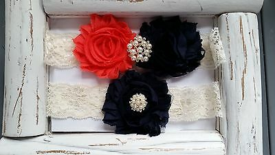 Wedding Garter Set, Coral/Navy Flower Garter Set, Ivory Lace