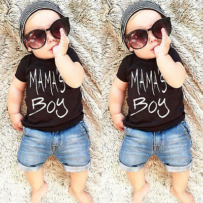 Summer Toddler Kids Baby Boys T-shirt Tops Tee Denim Short Pants Outfit US Stock