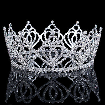 Silver Clear Crystal Tiara Crown Pageant Prom Party Rhinestone Hair Accessories