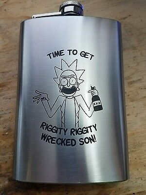 """rick and morty """"time to get riggity riggity wrecked"""" themed flask 8oz"""