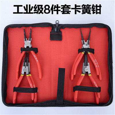 8pcs Heavy Duty Circlip Plier Snap Ring Plier Kit W/ Pouch Motor repair tools