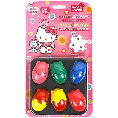 Sanrio Hello Kitty Purimomo crayons 6 color set with Private eraser