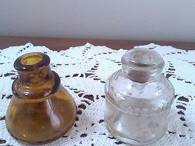 2 Vintage Ink Wells A Watermann And An Unmarked Brown Bottle