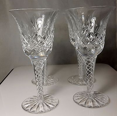 4 Vintage STUART England Air Twist Crystal Wine Stems 6.5 Tall 16cm 4 OZ