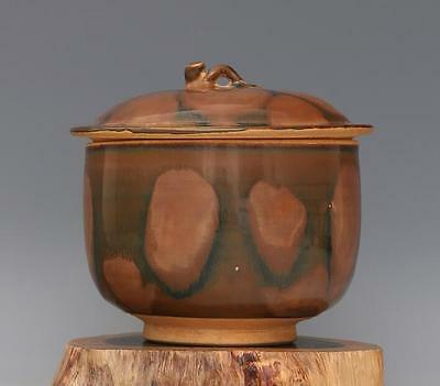 Chinese old hand-carved porcelain brown glaze tea caddy