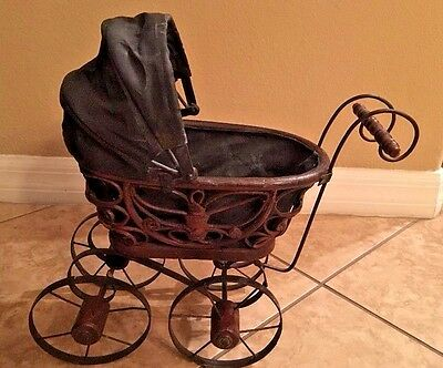 Wicker Baby Doll Carriage, Metal and Wood Wheels, Cloth Expandable Cover Vintage