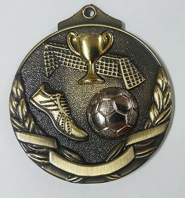 Soccer/Football Two Tone 3D 50mm Diameter Medal Inc Neck Ribbon / Engraving