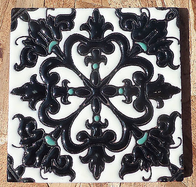 """8~Talavera Mexican 4"""" tile Hi Relief Moroccan Jewel Black Turquoise off white"""