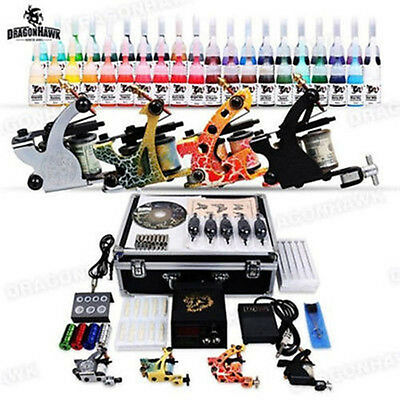Profi Komplett Set Kit 4 Gun TattooMaschine Tätowieru 40 Farben Nadeln Tips DE