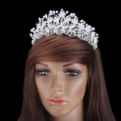 Prom Silver Plated Crystal Pearl Flower Hair Tiaras Bridal AB Rhinestone Crown