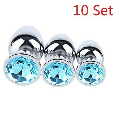 3Pcs Plug Anal Butt Toy Insert Stainless Steel Metal Jeweled Sexy Stopper 10 Set
