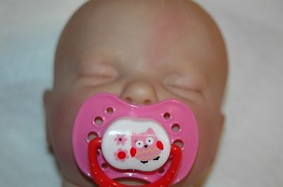 Magnetic Pacifier for Reborn Doll - Pink/Red - Owl