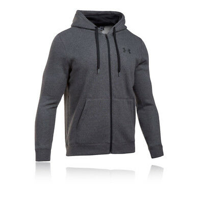 Under Armour Rival Fitted Mens Grey Hoody Zip Long Sleeve Hoodie Hooded Top