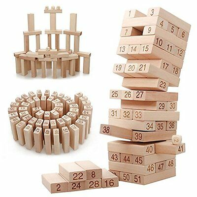 54 Piece Wooden Stacking Set With Dice Game Tumbling Tower Party Jenga