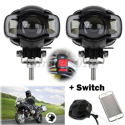 E9 2x Motorcycle Bike LED Spot Fog Lamp Auxiliary Light 20W USB Port + Switch