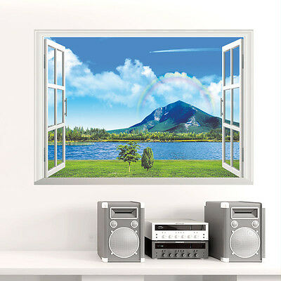 Wall Stickers Scenery natural Lake 3D Window Home decor Room Decal Pictures art