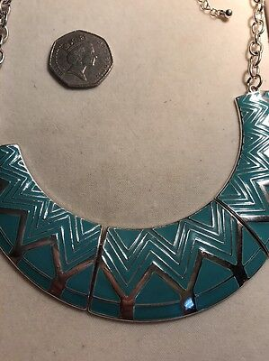 Vintage Statement Necklace Bib Style Gold Toned And Turquoise Enamel