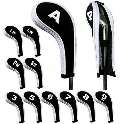 12pcs Set Number Print Neoprene Golf Club Iron Headcovers Head Cover Case Sock