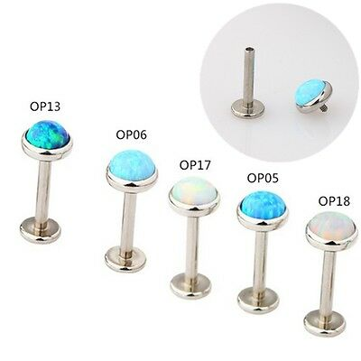 Surgical Steel Internally Threaded Opal Labret Cartilage Tragus Lip Bar Piercing