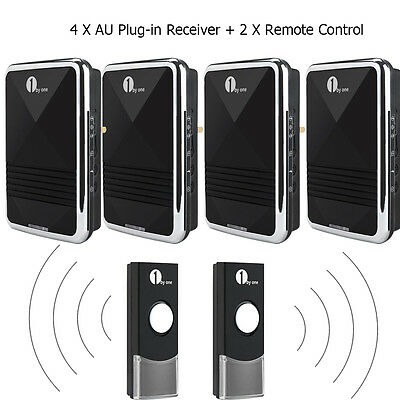 1Byone Wireless Door Chime 4 AU Plug Door Bell + 2 Remote 36 Melodies Waterproof
