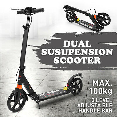 Scooter TWRIDE Black Scooter dual Suspension Adult Commuter or Kids Hand Brake