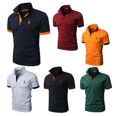 Men's Stylish Tops Slim Fit Casual T-shirt Cotton Polo Shirts Short Sleeve Tee