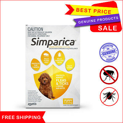 SIMPARICA 3 Chews Yellow for Dog 1.3 to 2.5 Kg Flea Tick treatment by Zoetis