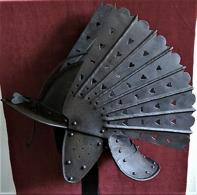 A RARE POLISH WINGED HUSSAR Zischagge helmet guard of Augustus the Strong