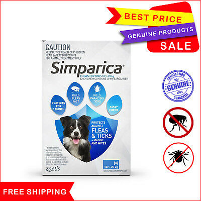 SIMPARICA 3 Chews Blue for Dog 10.1 to 20 Kg Flea Tick treatment by Zoetis