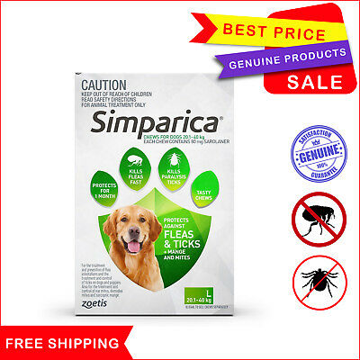 SIMPARICA 3 Chews Green for Dog 20.1 to 40 Kg Flea Tick treatment by Zoetis
