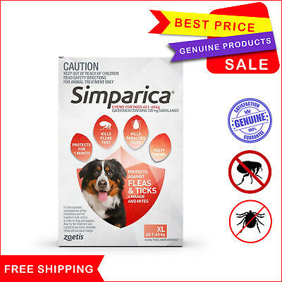 SIMPARICA 3 Chews Red for Dog 40.1 to 60 Kg Flea Tick treatment by Zoetis