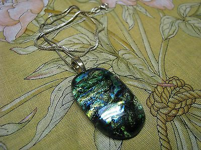 Vintage SINTERED GLASS CABOCHON Pendant  w/92.5% Sterling Silver Necklace- Italy