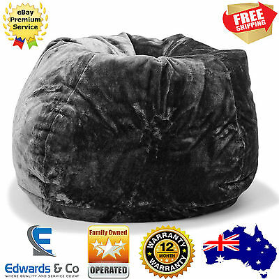 Large Oversize Tear Drop Shape Faux Fur Bean Bag Skin Cover Black 300L Capacity