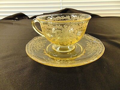 A Pair Of Fostoria June Topaz Cup & Saucer Set #1955