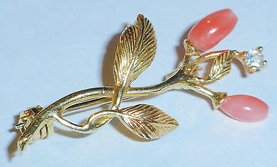 18ct GOLD 750 LADIES FLORAL LEAF DESIGN BROOCH MADE IN ITALY