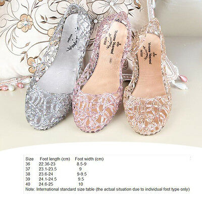 1 Pairs Hot Ventilate Crystal Shoes Jelly Hollow Glitter Sandals Summer Women