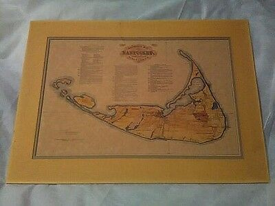 RARE 1869 NANTUCKET WALL MAP  BY F.C. EWER nieteenth century print 21x14