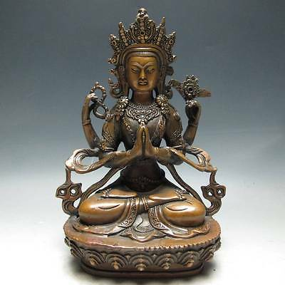 Rare Chinese Copper Handwork Carved Four Arm Buddha Statue