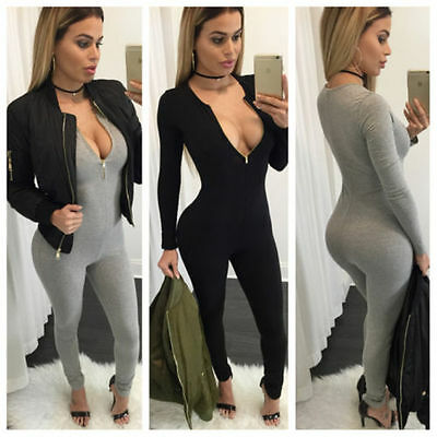 Women Zipper Playsuit Bandage Bodycon Jumpsuit Clubwear