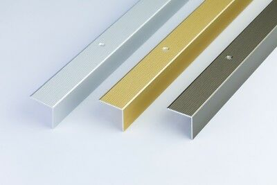 ANODISED ALUMINIUM ANTI NON SLIP STAIR EDGE NOSING  TRIM 900 x 30 x 30mm
