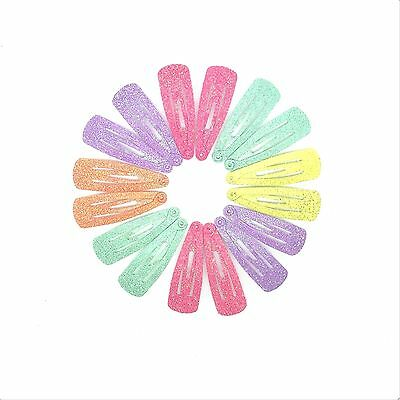 16x BABY GIRLS HAIR CLIPS GLITTER SMALL MINI SNAP HAIR CLIP LITTLE GIRLS CLIPS