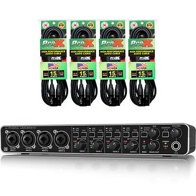 Behringer UMC404HD USB Audio Interface 4-Midas mic preamps + (4) XC-MIC15 Cables