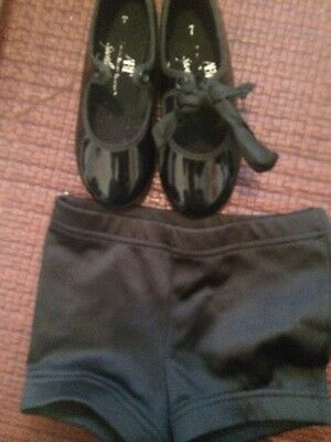 ABT Tap Shoe Young Child Size 7 + Free Dance Shorts Adorable! Nearly New