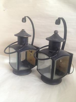 Lot Of 2 Antique Vintage Sconce Light Fixture Arts Crafts Thick Beveled Glass