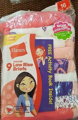 Hanes Girls' Cotton Low Rise Briefs Girls, 9-Pack, multi color, package is taped